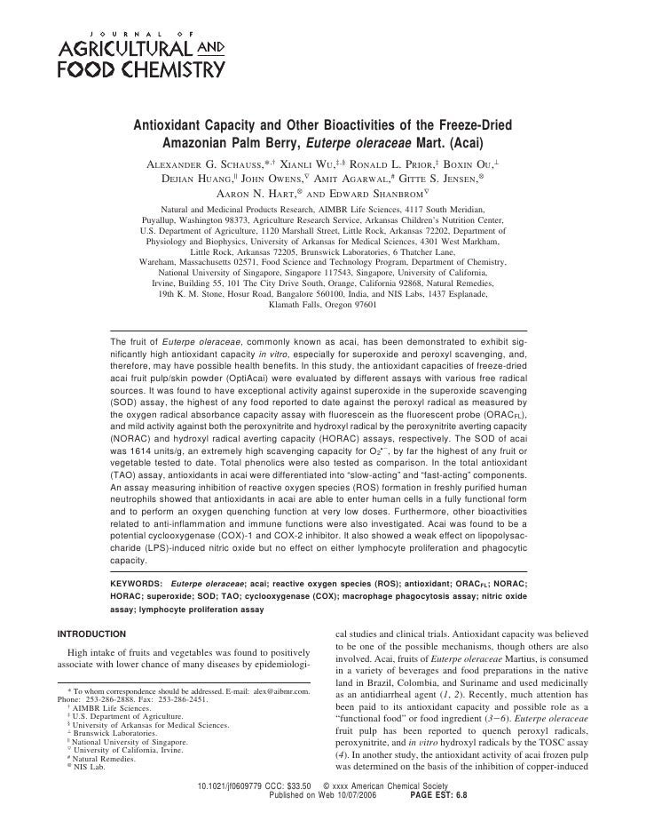 Antioxidant Capacity and Other Bioactivities of the Freeze-Dried                           Amazonian Palm Berry, Euterpe o...