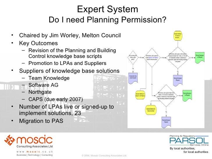 Expert System Do I need Planning Permission? <ul><li>Chaired by Jim Worley, Melton Council </li></ul><ul><li>Key Outcomes ...