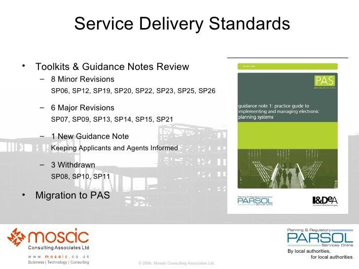 Service Delivery Standards <ul><li>Toolkits & Guidance Notes Review </li></ul><ul><ul><li>8 Minor Revisions  </li></ul></u...