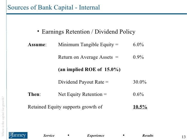 <ul><ul><ul><li>Earnings Retention / Dividend Policy </li></ul></ul></ul><ul><ul><li>Assume : Minimum Tangible Equity =  6...