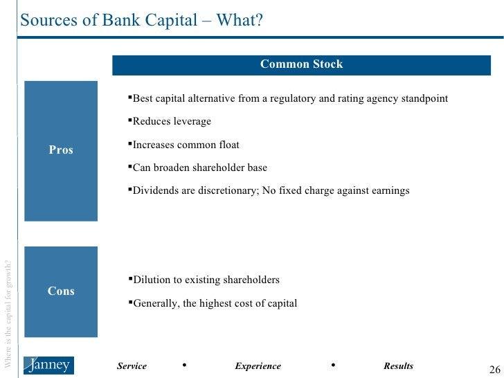 Common Stock Pros Cons <ul><li>Best capital alternative from a regulatory and rating agency standpoint </li></ul><ul><li>R...