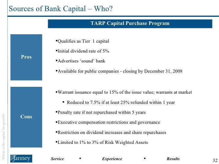 TARP Capital Purchase Program Pros Cons <ul><li>Qualifies as Tier  1 capital </li></ul><ul><li>Initial dividend rate of 5%...