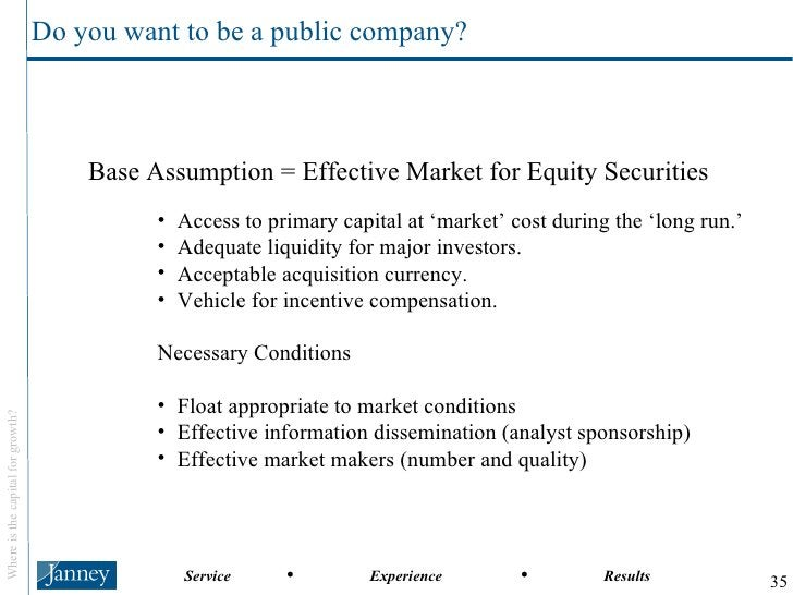 <ul><li>Base Assumption = Effective Market for Equity Securities </li></ul><ul><ul><ul><li>Access to primary capital at 'm...
