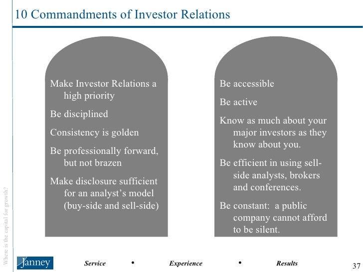 <ul><li>Make Investor Relations a high priority </li></ul><ul><li>Be disciplined </li></ul><ul><li>Consistency is golden <...