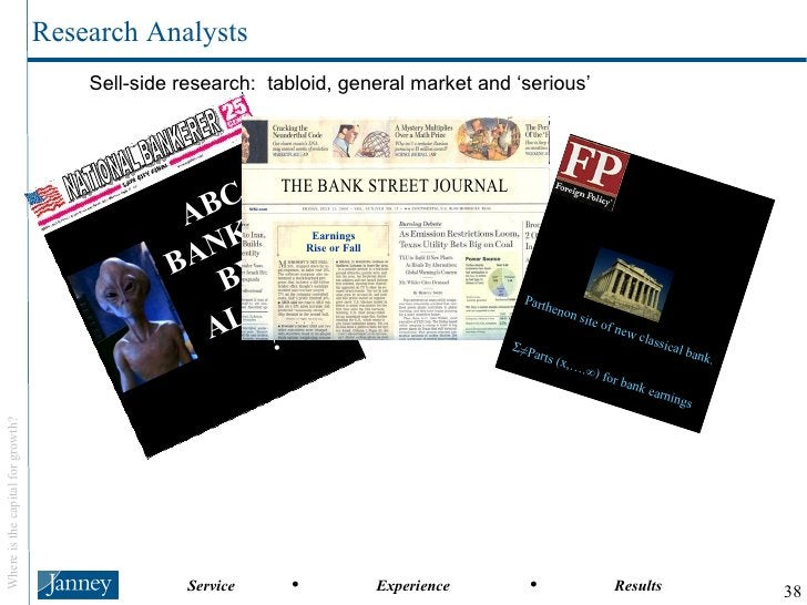 Sell-side research:  tabloid, general market and 'serious' Research Analysts NATIONAL BANKERER ABC BANKED BY  ALIENS ? Par...