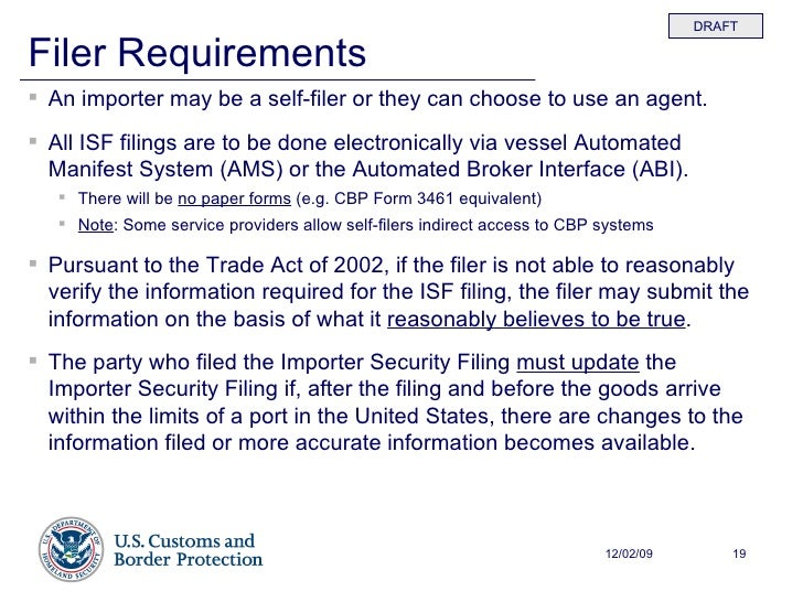 ISF - Review Of Interim Final Rule With CBP - 120208