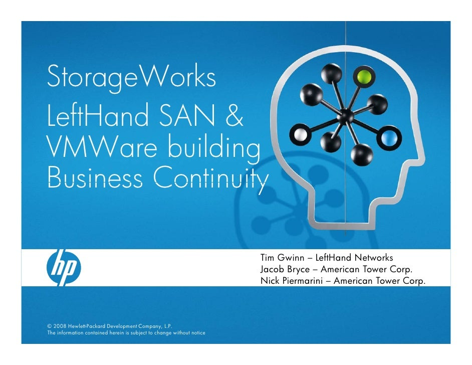 StorageWorks LeftHand SAN & VMWare building Business Continuity                                                           ...