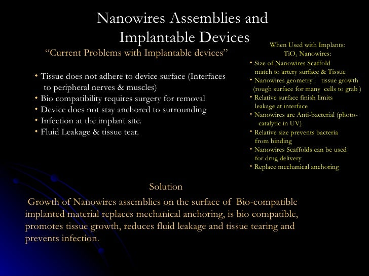 "Nanowires Assemblies and  Implantable Devices <ul><li>"" Current Problems with Implantable devices"" </li></ul><ul><li>Tissu..."