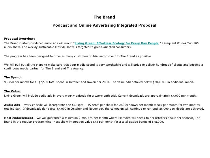 podcast and online advertising integrated proposal proposal overview