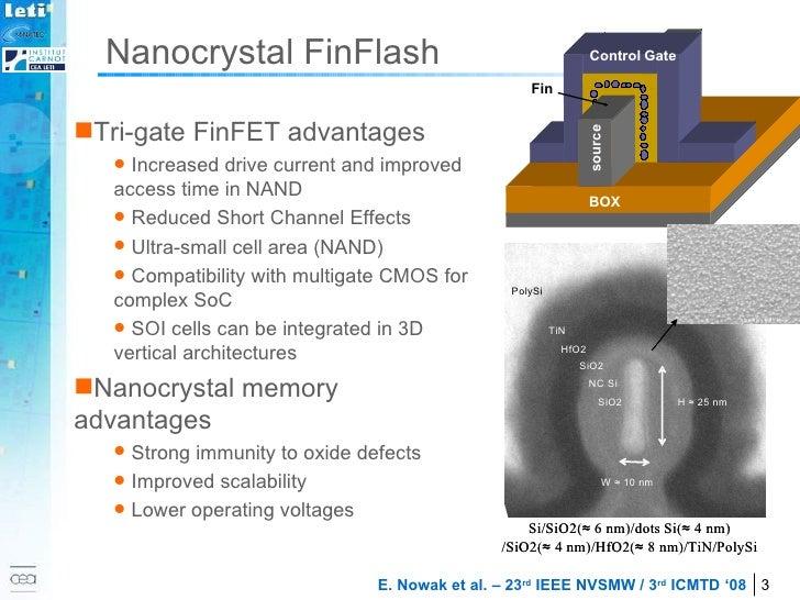 Nanocrystal FinFlash <ul><li>Tri-gate FinFET advantages </li></ul><ul><ul><li>Increased drive current and improved access ...