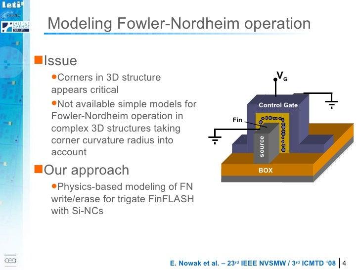 Modeling Fowler-Nordheim operation <ul><li>Issue </li></ul><ul><ul><li>Corners in 3D structure appears critical </li></ul>...