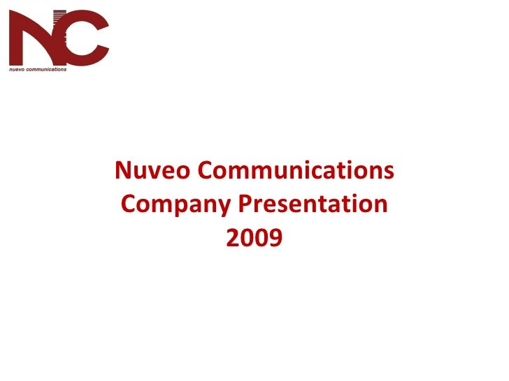 Nuveo Communications Company Presentation 2009