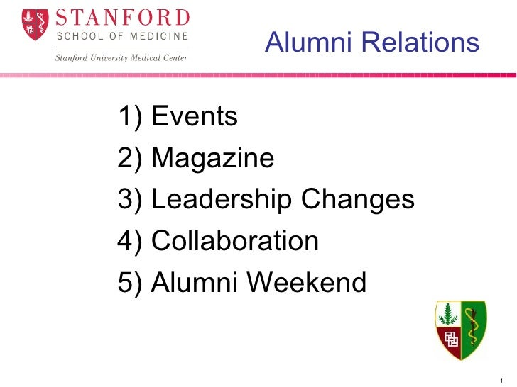 Alumni Relations   <ul><li>1) Events </li></ul><ul><li>2) Magazine </li></ul><ul><li>3) Leadership Changes </li></ul><ul><...