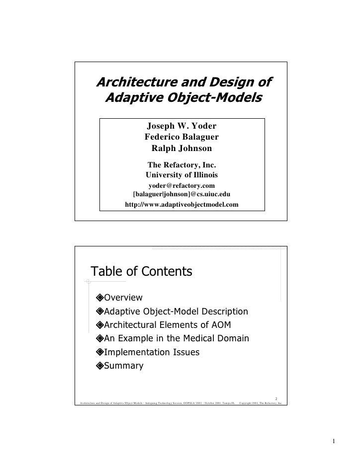 Architecture and Design of              Adaptive Object-Models                                                  Joseph W. ...