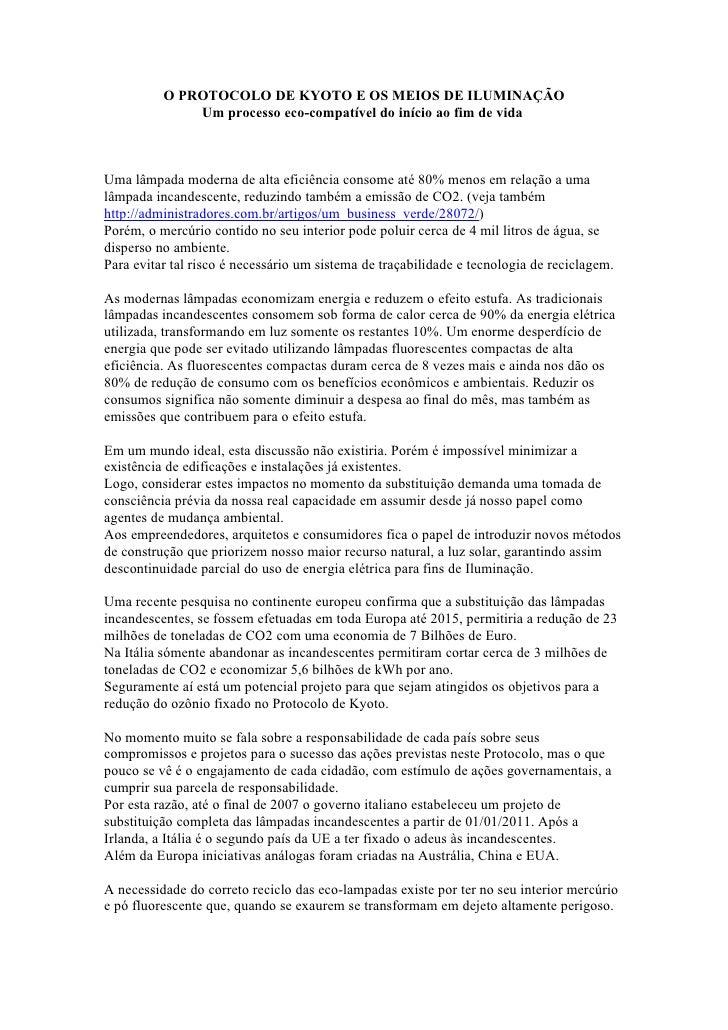 Management consultants          O PROTOCOLO DE KYOTO, COPENHAGUEM E OS MEIOS DE ILUMINAÇÃO                  Um processo ec...