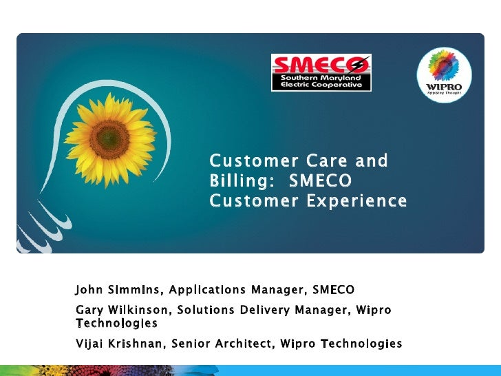 John Simmins, Applications Manager, SMECO Gary Wilkinson, Solutions Delivery Manager, Wipro Technologies Vijai Krishnan, S...