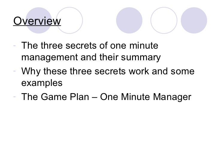 one minute manager When a leading american management consultant (ken blanchard) and a psychologist (spencer johnson) decided to get together to write a book on.