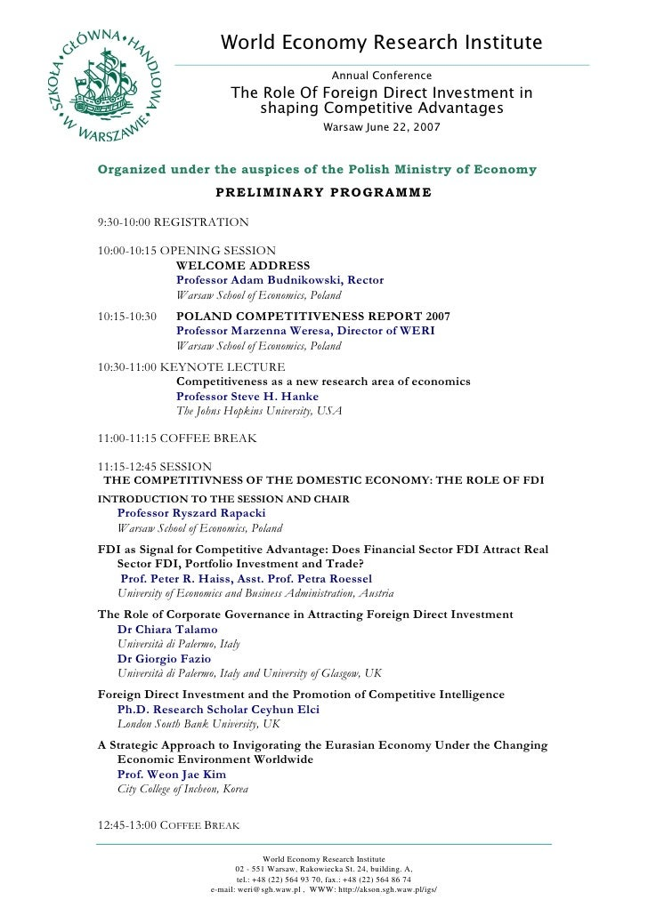 World Economy Research Institute                                                      Annual Conference                   ...