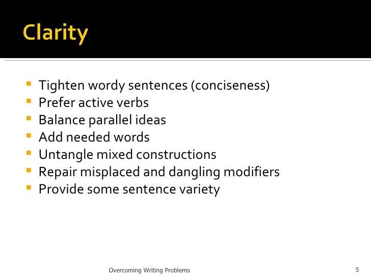 <ul><li>Tighten wordy sentences (conciseness) </li></ul><ul><li>Prefer active verbs </li></ul><ul><li>Balance parallel ide...