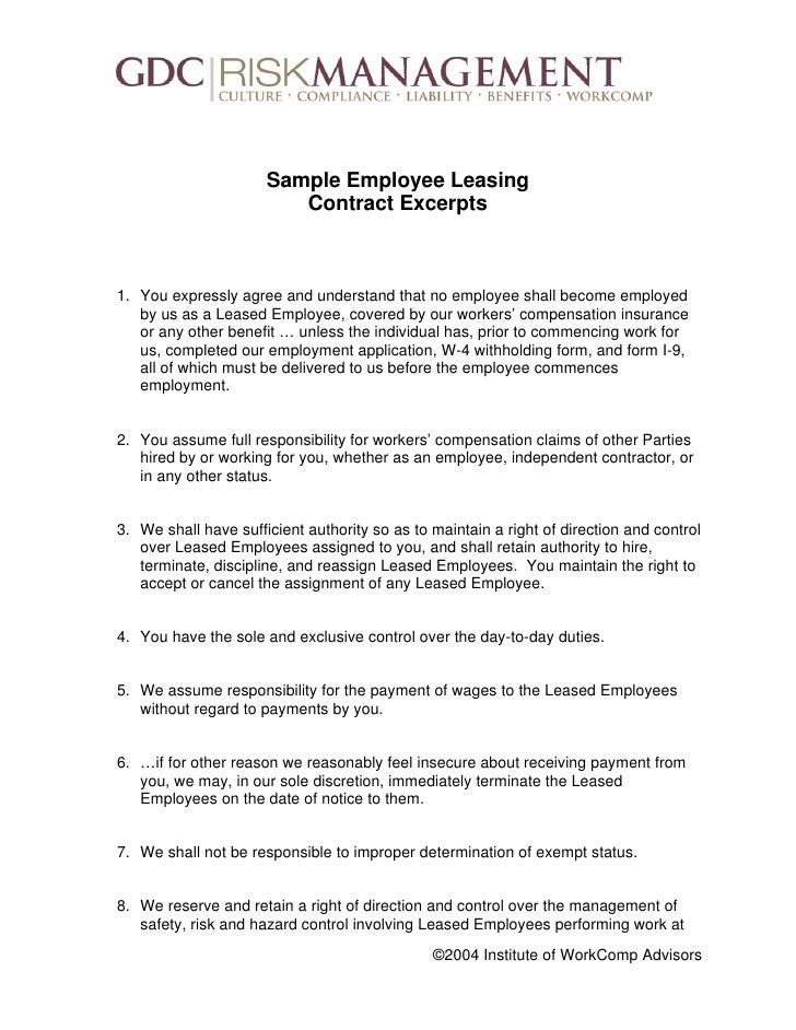 Peo white paper 2004 institute of workcomp advisors 6 sample employee leasing contract platinumwayz