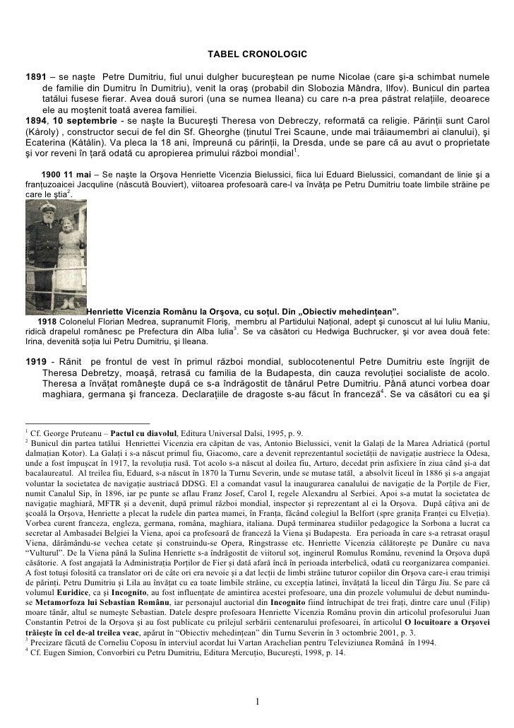 TABEL CRONOLOGIC  1891 – se naşte Petre Dumitriu, fiul unui dulgher bucureştean pe nume Nicolae (care şi-a schimbat numele...