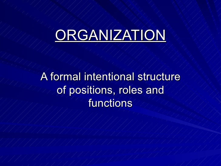 ORGANIZATION A formal intentional structure of positions, roles and functions