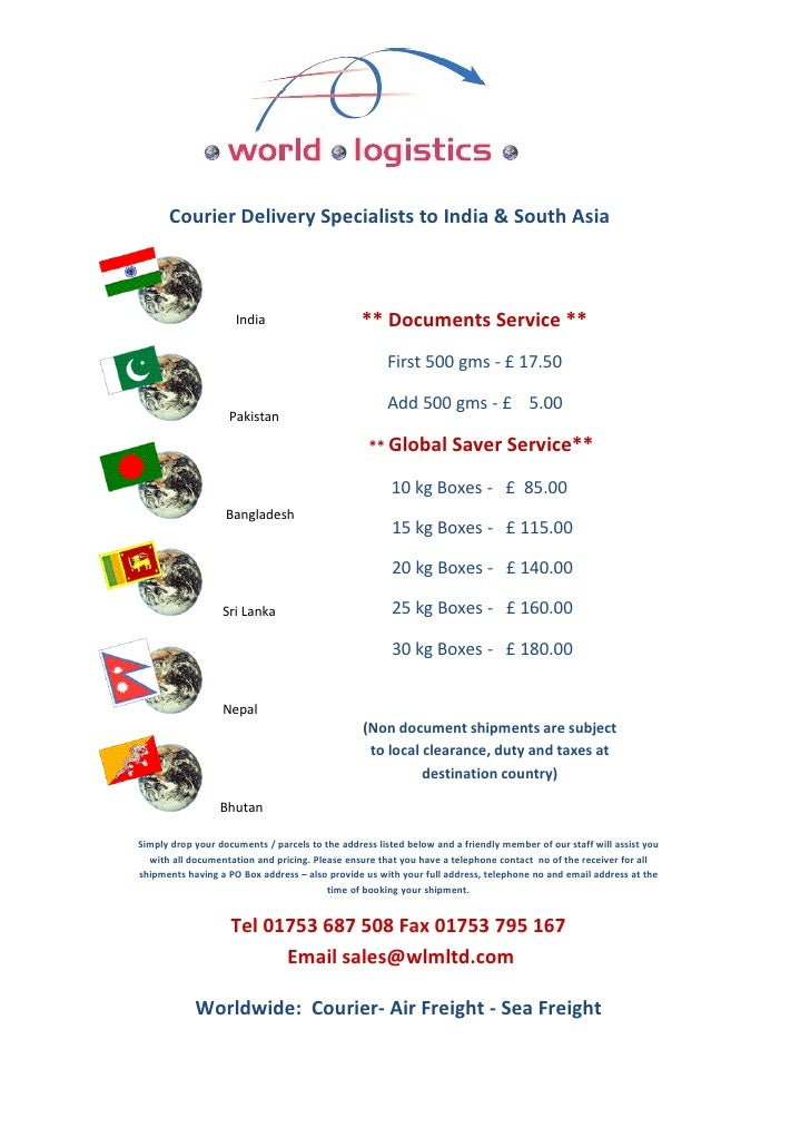 Courier Delivery Specialists to India & South Asia                                                     ** Documents Servic...