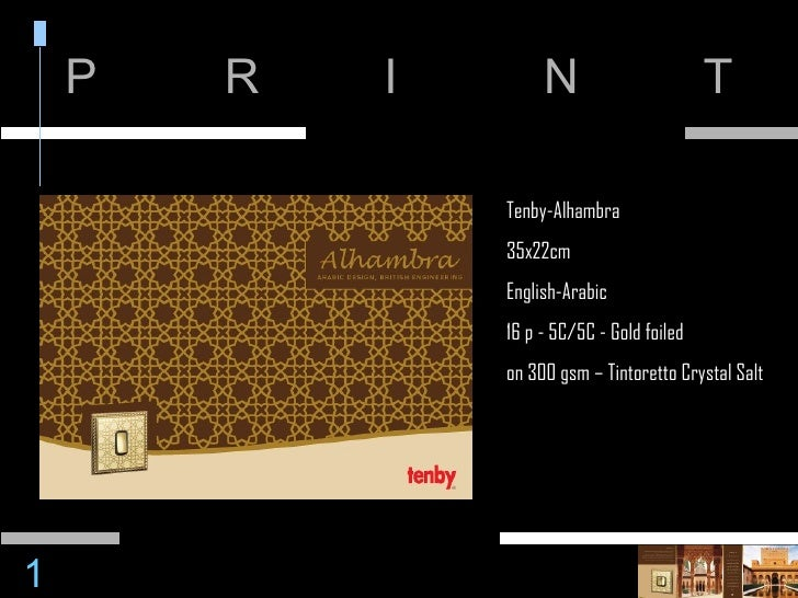 P R I N T Tenby-Alhambra 35x22cm English-Arabic 16 p - 5C/5C - Gold foiled on 300 gsm – Tintoretto Crystal Salt