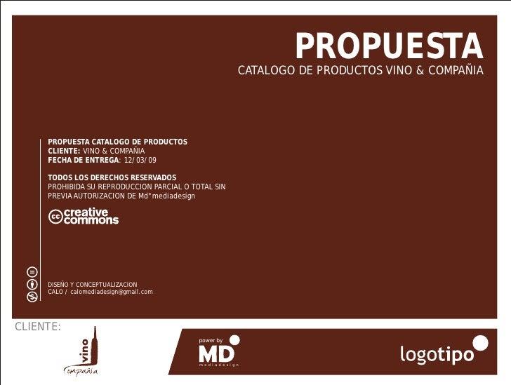 PROPUESTA                                                       CATALOGO DE PRODUCTOS VINO & COMPAÑIA          PROPUESTA C...