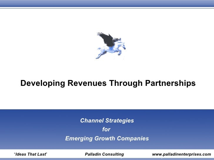 "Developing Revenues Through Partnerships Channel Strategies for  Emerging Growth Companies "" Ideas That Last ""  Palladin C..."