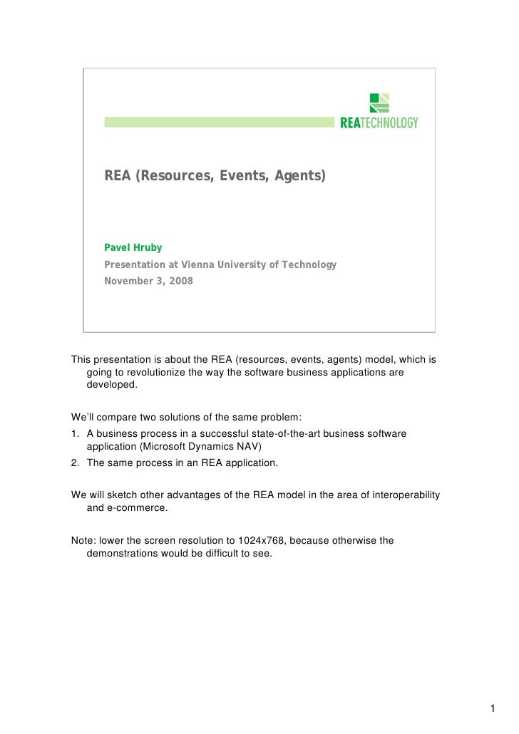 REA (Resources, Events, Agents)           Pavel Hruby        Presentation at Vienna University of Technology        Novemb...