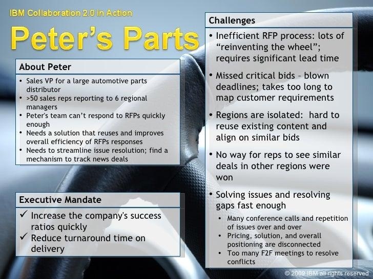 <ul><li>Sales VP for a large automotive parts distributor </li></ul><ul><li>>50 sales reps reporting to 6 regional manager...