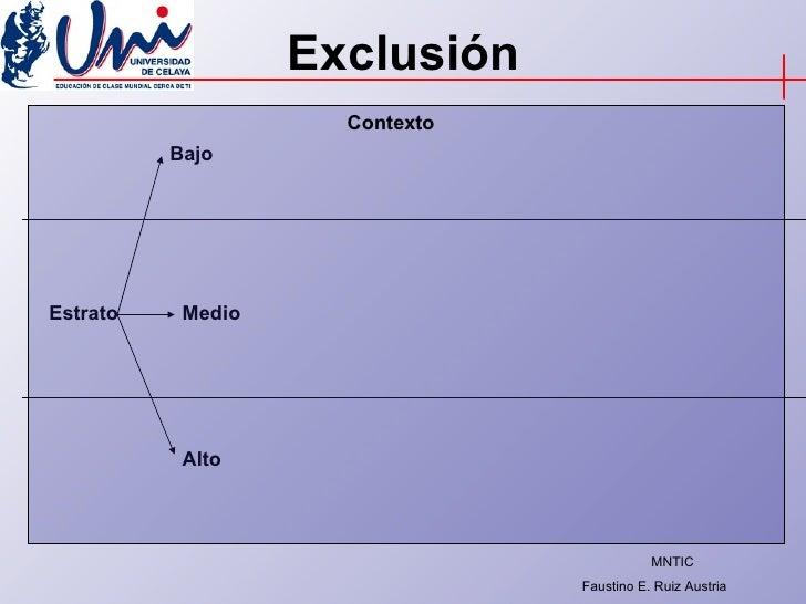 Exclusión Estrato Bajo Medio Alto Contexto