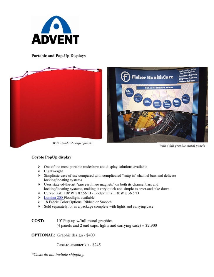 Portable and Pop-Up Displays                 With standard carpet panels                                                  ...