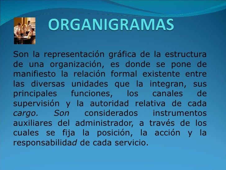 Son la representación gráfica de la estructura de una organización, es donde se pone de manifiesto la relación formal exis...