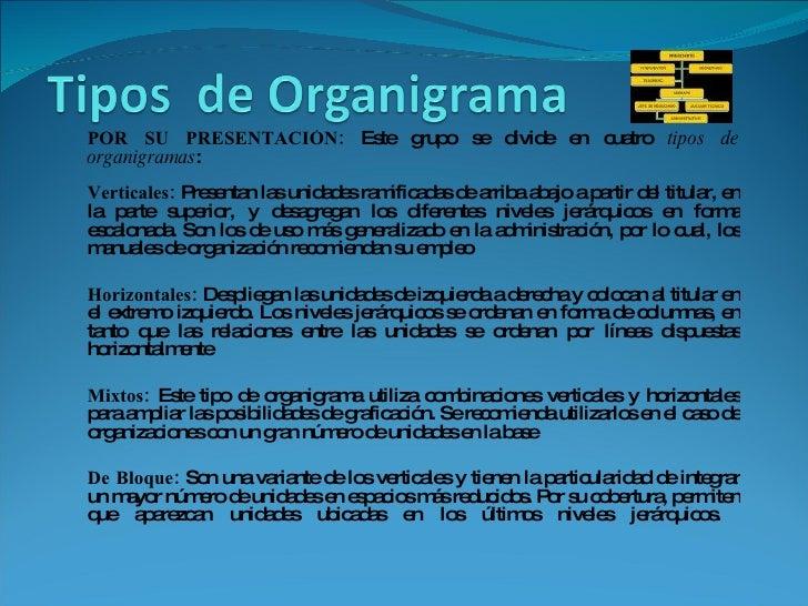 <ul><ul><li>POR SU PRESENTACIÓN:  Este grupo se divide en cuatro  tipos de organigramas :  Verticales:  Presentan las unid...