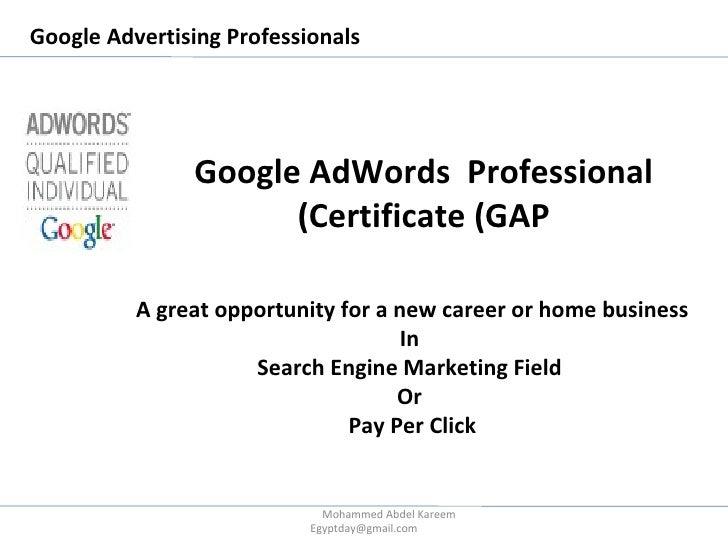 Google AdWords Professional Certificate (GAP)