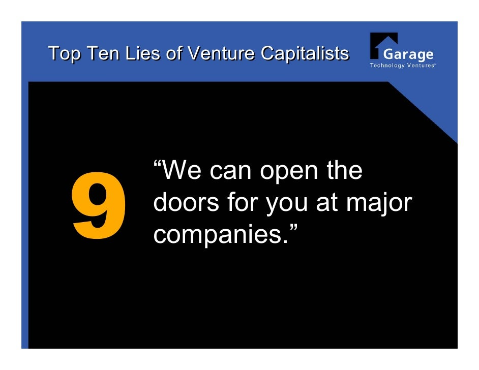 Top 10 Lies O Of Venture Capitalists