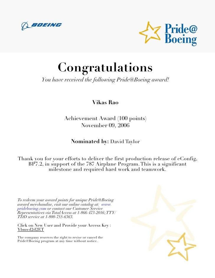 Boeing achievements and accomplishments