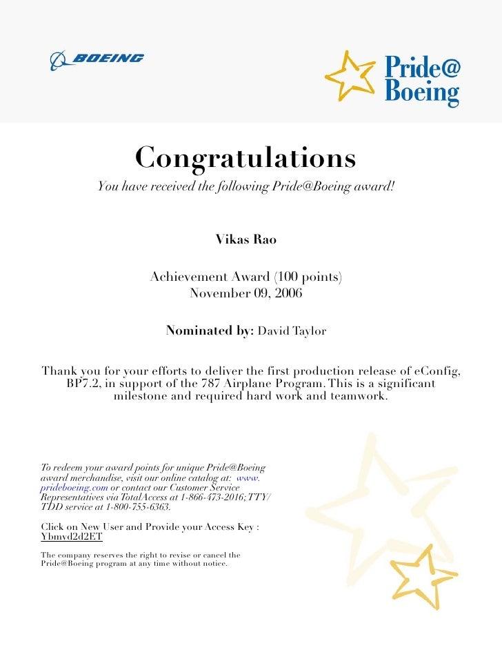Boeing achievements and accomplishments