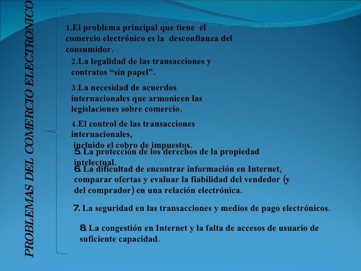 """2.La legalidad de las transacciones y contratos """"sin papel"""". 1.El problema principal que tiene  el comercio electrónico es..."""