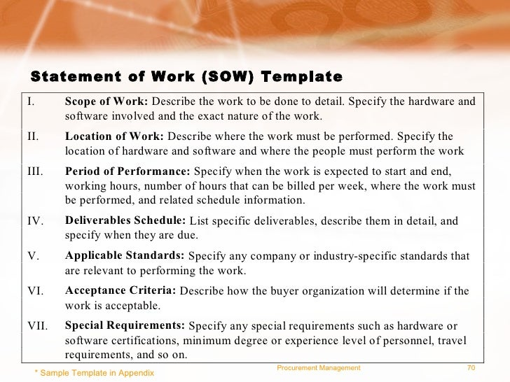 Project Management For Good Procurement Practices – Sample Statement of Work