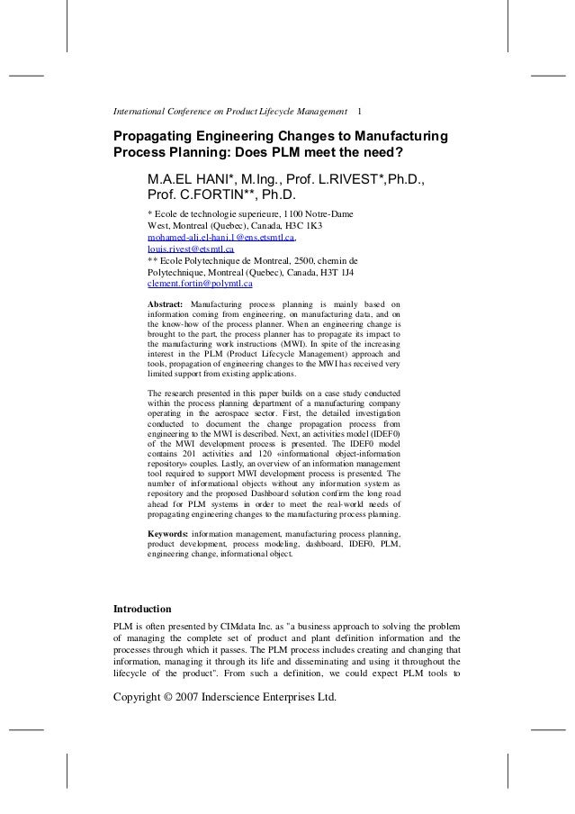 International Conference on Product Lifecycle Management 1 Propagating Engineering Changes to Manufacturing Process Planni...