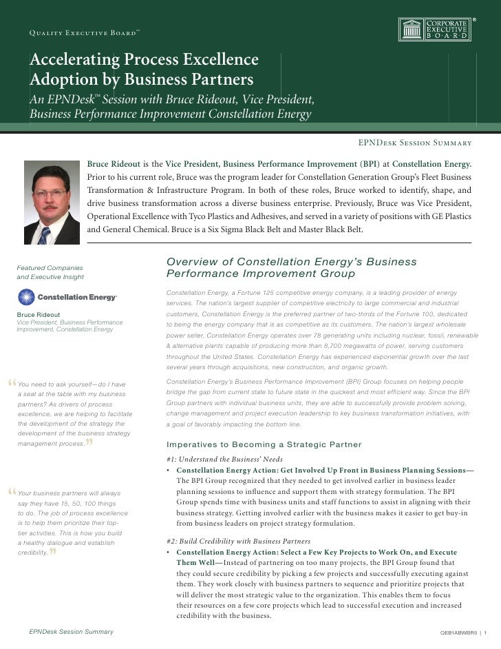 Quality Executive Board™            Accelerating Process Excellence          Adoption by Business Partners          An EPN...