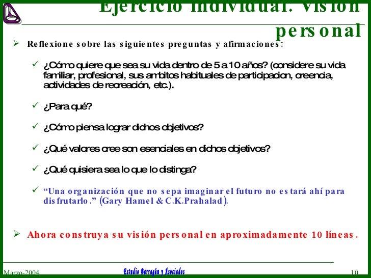 Ejercicio individual: Visión personal <ul><li>Reflexione sobre las siguientes preguntas y afirmaciones: </li></ul><ul><ul>...