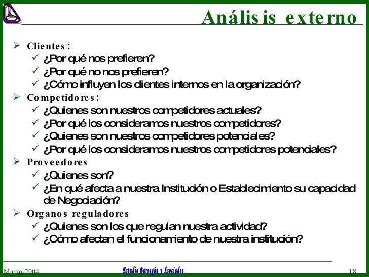 Análisis externo <ul><li>Clientes: </li></ul><ul><ul><li>¿Por qué nos prefieren? </li></ul></ul><ul><ul><li>¿Por qué no no...
