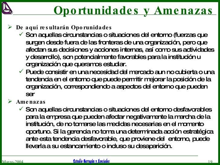 Oportunidades y Amenazas <ul><li>De aquí resultarán Oporunidades  </li></ul><ul><ul><li>Son  aquellas circunstancias o sit...