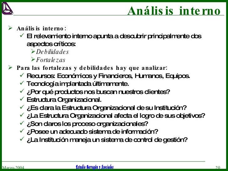 Análisis interno <ul><li>Análisis interno: </li></ul><ul><ul><li>El relevamiento interno apunta a descubrir principalmente...