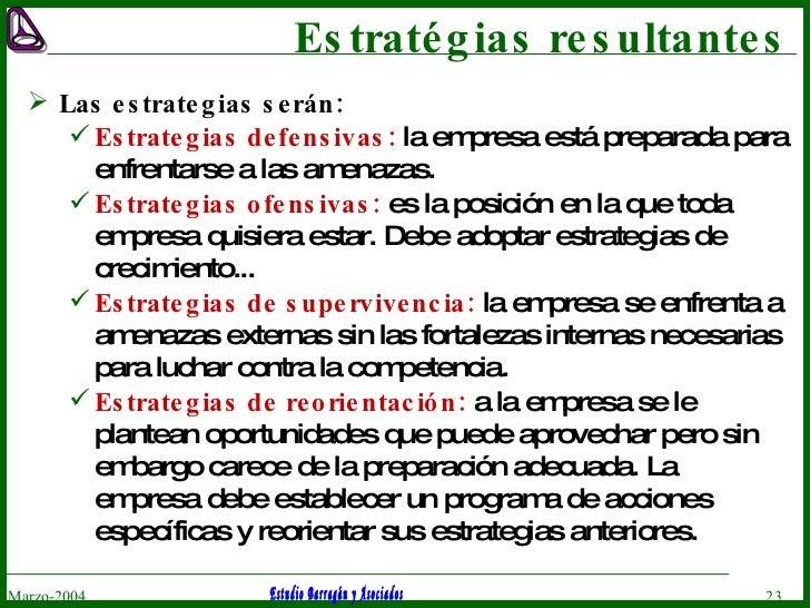 Estratégias resultantes <ul><li>Las estrategias serán: </li></ul><ul><ul><li>Estrategias defensivas:  la empresa está prep...