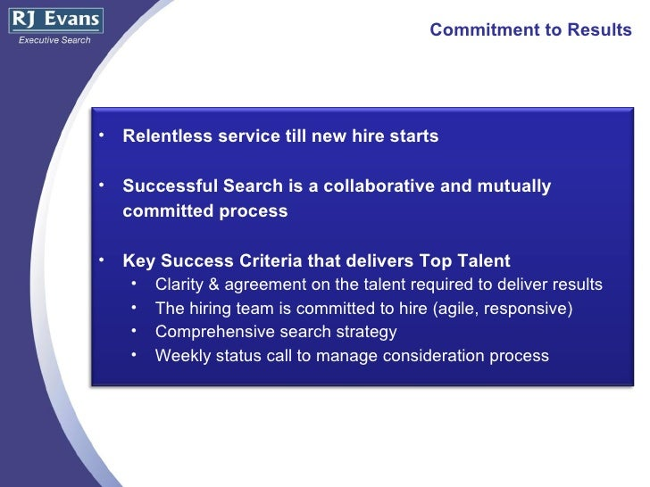 Rj Evans Retained Search Capabilities